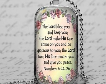 Christian Bible Scripture Necklace Verse Numbers Glass Tile Pendant Jewelry