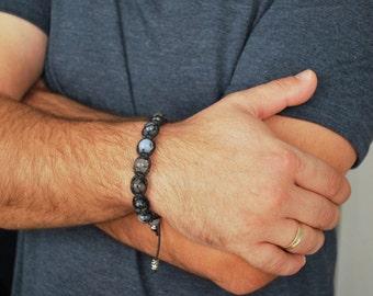 Mens bracelet , Agate bracelet , Boyfriend gift , Beaded bracelet , Healing bracelet , Agate men , Gift for boyfriend