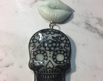 Sugar skull dangle keychain