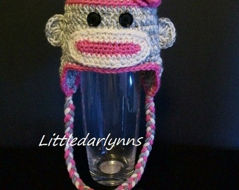 Sock Monkey Hat Pink Gray Sock Monkey Hat Crochet Baby Girl Hat Halloween Hat Costume Sock Monkey Baby Shower Gift Newborn Sock Monkey Hat