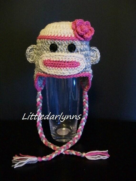 Socke Affe Hut rosa grau Socke Affe Hut häkeln Baby Mädchen