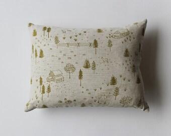 SALE 20% OFF - Linen Pillow Cover - yellow/green Homestead
