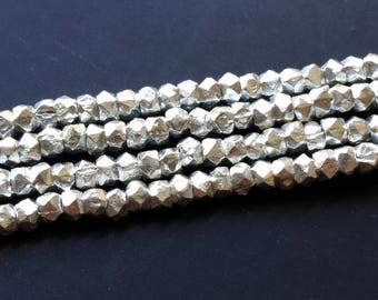 """Sterling Silver Faceted Nugget 2.5mm Beads 4"""" Strand 50 Pieces"""