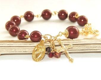 Rosary Bracelet, Infant of Prague Medal, Swarovski® Burgundy Pearls & Gold