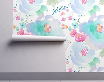 Watercolor Floral Wallpaper - Floral Blues B by Indy Bloom Design - Custom Printed Removable Self Adhesive Wallpaper Roll by Spoonflower