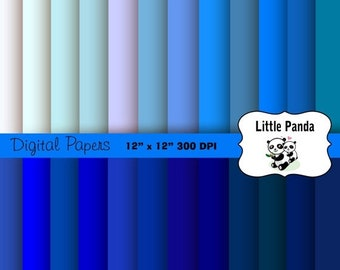 70% OFF SALE Shades of Blue Digital Paper 24 jpg files 12 x 12 - Instant Download - D196
