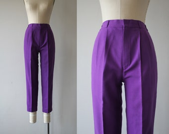 vintage 1970s pants / 70s purple pants / 1980s slim pants / 80s plum cigarette pants / 70s slacks / small medium 26 28 30 waist