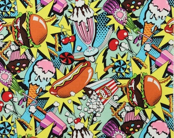 Midnight Snack - Burger - Sundae - Hot Dog - Munchies - Pop art - Food Fabric - Nicole's Prints by Alexander Henry