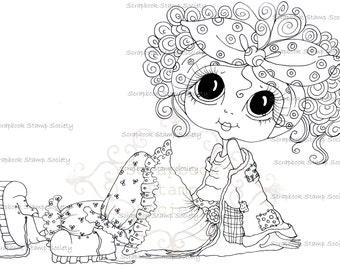 INSTANT DOWNLOAD Digi Stamps Big Eye Big Head Dolls Digi IMG699 Tina Tatters By Sherri Baldy
