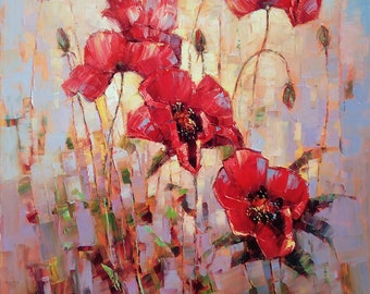 Red poppies(oil painting, 70x60cm, ready to hang, modern art, impressionistic)