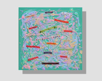"""Peinture abstraite en techniques mixtes sur toile.""""Mots doux"""", tableau vert, mauve, rose. décoration murale à textes. effet marbré. collage"""