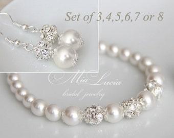 Bridesmaid Jewelry set of three, set of four, set of five, pearl set of seven, set of eight Bridesmaid Earrings Bridesmaid Bracelet e01-b01