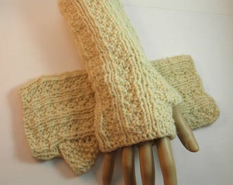 Hand Knit Natural Colored Fingerless Gloves