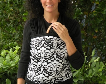 ORGANIC BABY WRAP-White Damask on Black-DvD Included-Newborn to Toddler-One Size Fits All