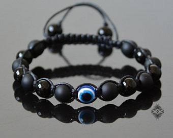 Evil Eye Bracelet - Mens Bracelet - Eye Bracelet - Crystal Beaded Jewelry - Evil Eye Protection - Black Onyx Jewelry - Natural Stone Jewelry