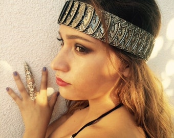 Tribal princess filigree Crown, silver color and stretchy band