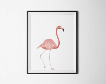 Flamingo Print, watercolor print, animal art, Florida art