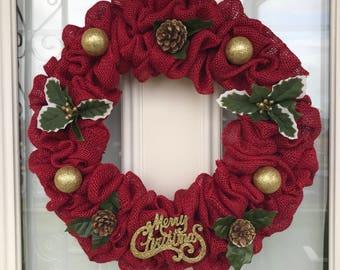 Christmas wreath, Holiday wreath, X-Mas wreath, Holly, Red wreath, Front door wreath, welcome wreath, Festive wreath, winter wreath, gold