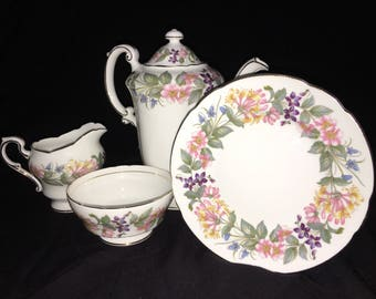 SALE** Paragon Vintage 1960s Country Lane China Set. Includes: Coffee Pot, Creamer, Saucer, & Sugar Bowl