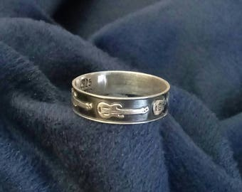 Electric Guitar 5mm Sterling Silver Mexico Ring Band Sizes 6 1/2 - Vintage