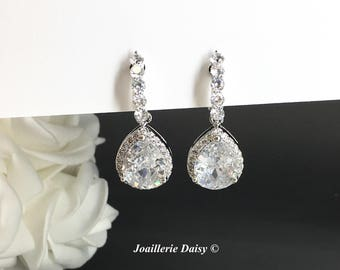 Clip on Wedding Earrings Dangle Earrings CZ Earrings Bridal Statement Earrings Bridal Jewelry Cubic Zirconia Earrings Drop Earrings