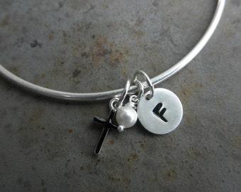 Customized Enamel bangle bracelet with initial tag, cross and tiny swarovski pearl