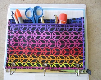 Binder Pencil case with Grommets : peace symbols on black with purple zip and lining