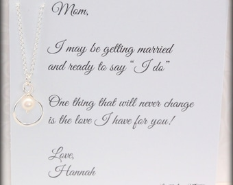 Infinity necklace Mother of the BRIDE, Mom necklace, Brides Mother, Thank you Mom, wedding gift for mother