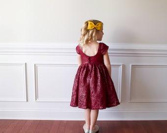 girls lace dress. red lace dress. girls holiday dress: Elegance