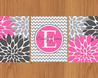Floral Flower Burst Pink Grey Chevron Monogram Nursery Wall Decor Set of 3 Wall Decor Bedroom Family Name Decor 8x10 Matte Finish (28)