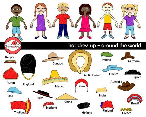 Hat Dress Up Around The World Digital Clip Art: England Italy