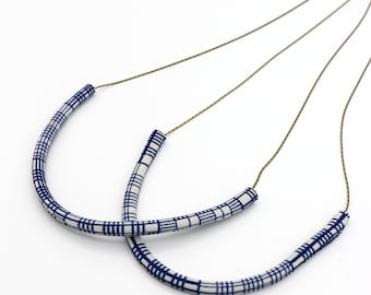 Vintage Fabric Necklace - Limited Edition Navy Blue Collection