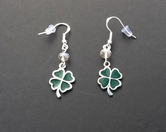 St Patrick's Day Earrings Shamrock Earrings Four Leaf Clover Earrings Green Enamel Earrings Sterling Silver Earrings Handmade Earrings Lucky