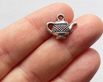 10 Tiny Teapot Charms - #S0077