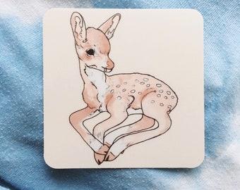 Cute Deer Fawn Vinyl Sticker - Advesive Decal Bumper Sticker
