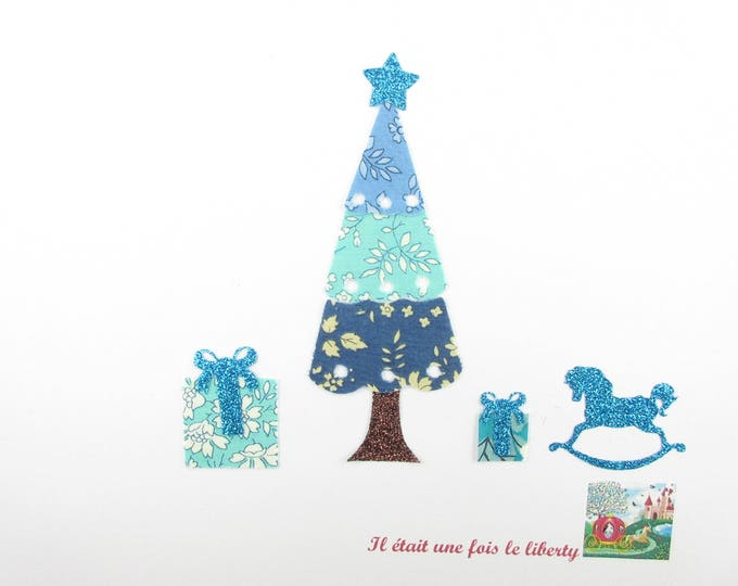 Applied fusing liberty Capel turquoise ink Mitsi Mint flex Christmas tree sequined applique liberty pattern Christmas