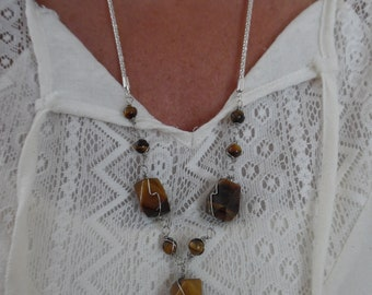 Wire-Wrapped Tiger Eye Y Necklace