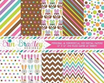 80% OFF SALE Easter Digital Papers Bunnies Owls Colorful Polka Dots & Stripes Holiday Digital Printable Paper Pack Instant Download