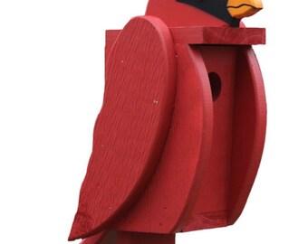 Amish Made Bird House - Cardinal shaped House - Free Shipping