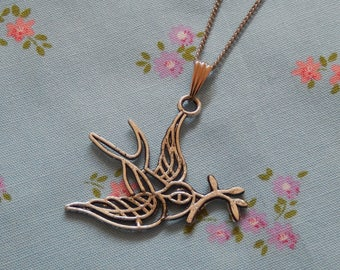 Dove with an Olive Branch Pendant Necklace