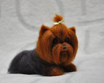 Needle felted Yorkshire Terrier,dog, felting, 100% sheep wool, eyes glass