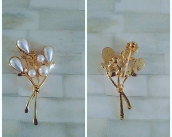 Vintage Pearl Flower Gold Tone Pin Mother's Day Jewelry Accessories