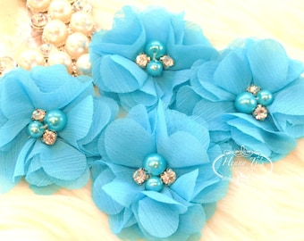 NEW: 4 pcs Aubrey SEA BLUE - Soft Chiffon with pearls and rhinestones Mesh Layered Small Fabric Flowers, Hair accessories