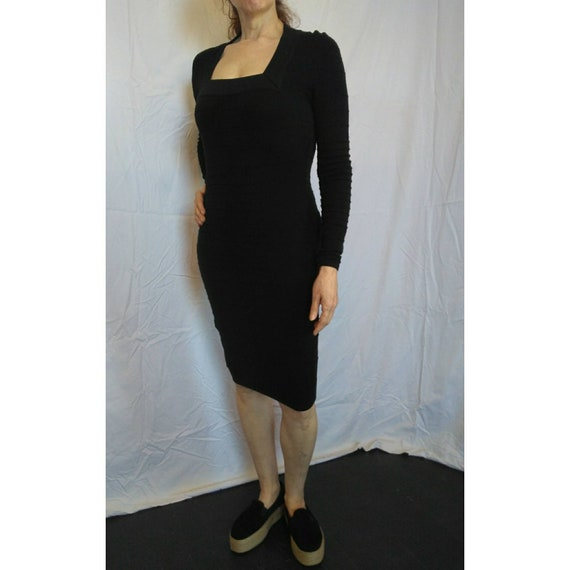 Vintage Thierry Mugler 1980s black ribbed bodycon bandage dress