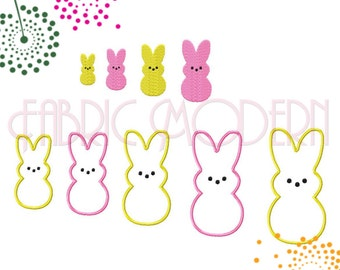 PEEPS Embroidery Design filled and applique'  9 sizes from 1.5 inches to 5.5 inches  #664