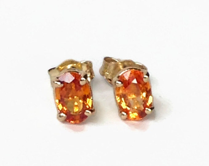 Orange Sapphire Stud Earrings/ Natural Sapphire/ 14K Gold Earrings