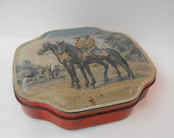 Vintage Canadian Mounties Horses Tin by Horner Red