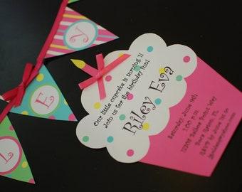10 Cupcake Birthday Invitations  by Palm Beach Polkadots
