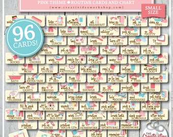 ROUTINE Cards And Chart | Printable | Pink | Girlu0027s Routine Chart | 96  Cards And