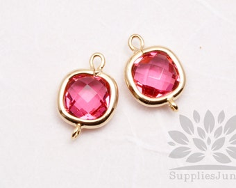 F125-G-RB// Gold Plated Ruby Square Glass Pendant Connector, 2 pcs